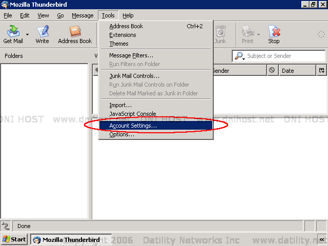 how to change account view on mozilla thunderbird