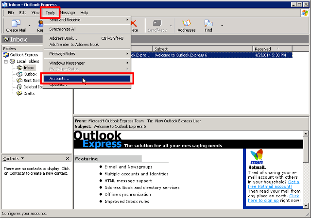 Dni customer support email support configuring microsoft outlook express using imap - Outlook express port settings ...
